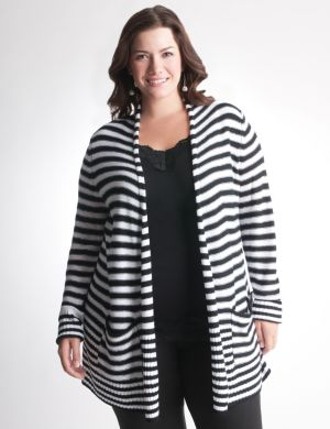 Mixed stripe open cardigan