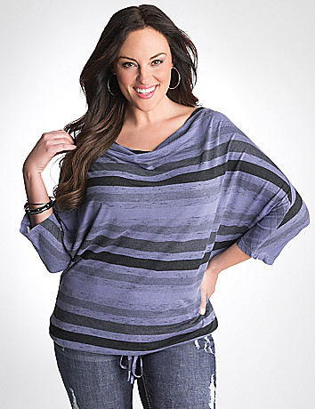 Plus Size Striped Dolman Top by Seven7