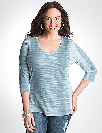 Plus Size 3/4 sleeve tie dye tee by Seven7