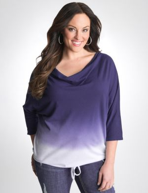 Dip-dye drape neck top by Seven7