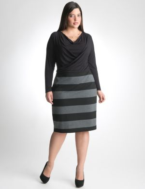 Striped drape neck dress