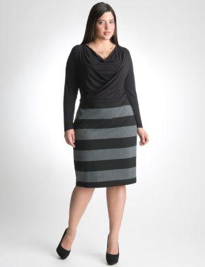 Striped drape neck dress