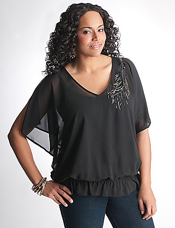 Full Figure Embellished Blouse by Lane Bryant