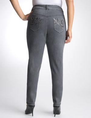 Gray embellished skinny jean