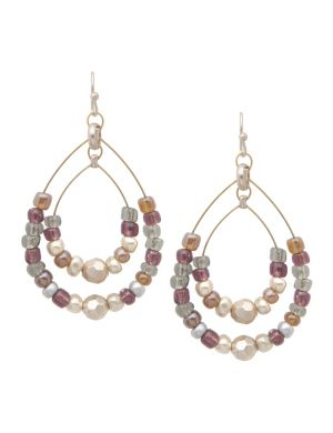 Beaded double teardrop earrings by Lane Bryant