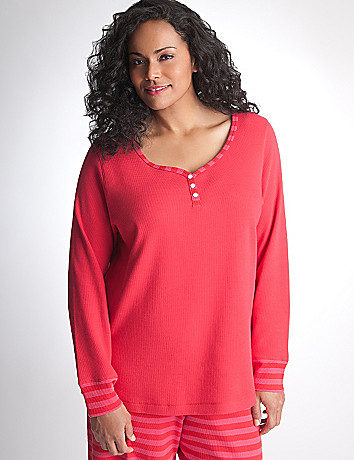 Long Sleeve Thermal Sleep Shirt by Cacique