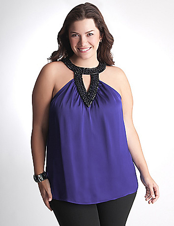 Plus Size Beaded Halter Top by Lane Bryant