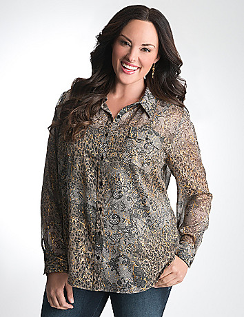 Plus Size Mixed print button front shirt by Lane Bryant
