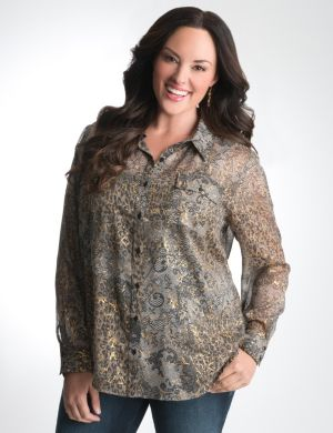 Mixed print button front shirt
