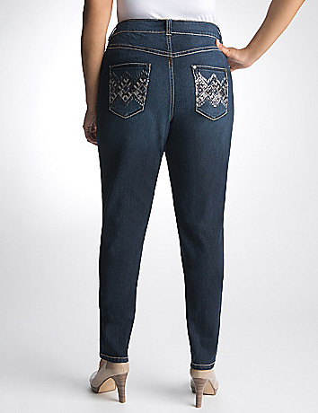 Plus Size Embellished Argyle Jean by Lane Bryant