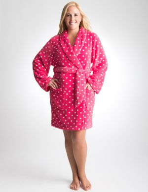 Polka dot plush robe