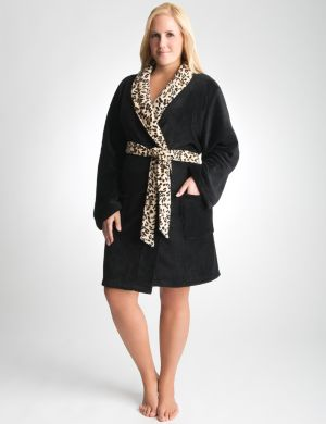 Leopard trim plush robe