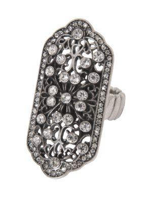 Filigree rhinestone ring by Lane Bryant