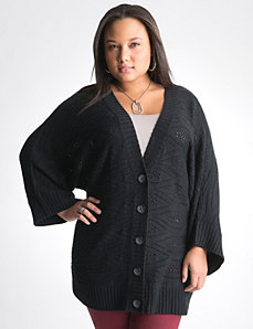 Pointelle dolman cardigan by Lane Bryant