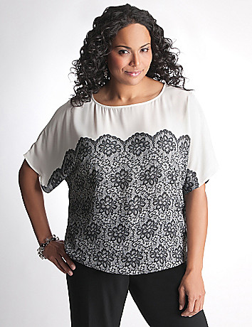 Full Figure Lace Print Blouse by Lane Bryant