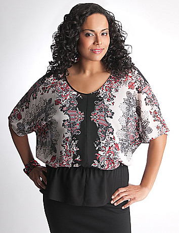 Plus Size Scarf Print Blouse by Lane Bryant