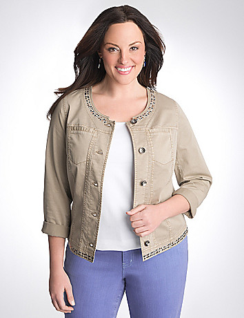 Full Figure Studded Twill Jacket by Lane Bryant
