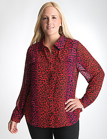 Full Figure Sheer Animal Blouse by Lane Bryant
