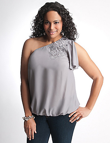 Full Figure Sequin One Shoulder Top by Lane Bryant