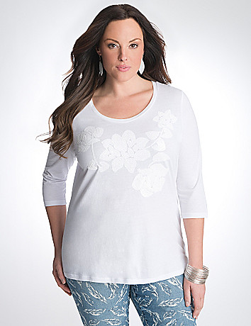 Plus Size Sequin Floral Tee by Seven7