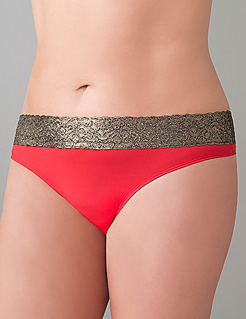 Plus Size Thong with Metallic Lace by Cacique