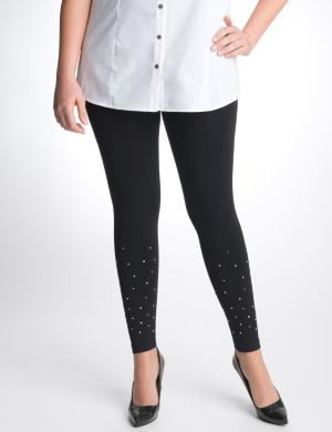 Control top leggings with colored rhinestones