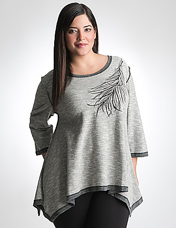 Embellished feather sharkbite top by Lane Bryant