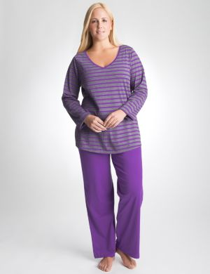 Shimmer stripe 2-piece pajama set