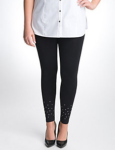 Control top leggings with rhinestones