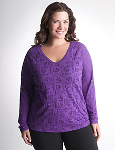 Long Sleeve Burnout Active Tee by Lane Bryant