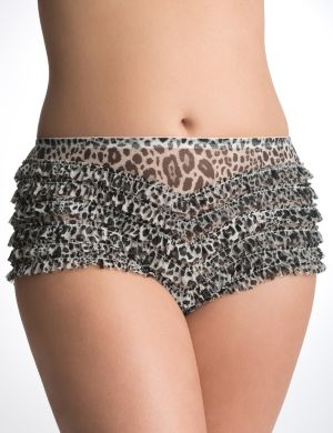 Animal print ruffled rhumba panty
