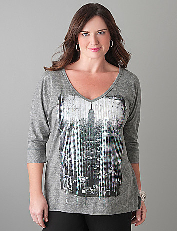 Full Figure NYC Sequin Tee by Lane Bryant