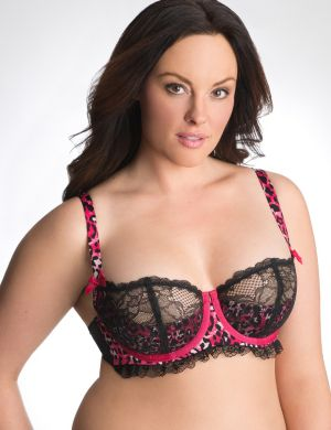 Animal print French balconette bra