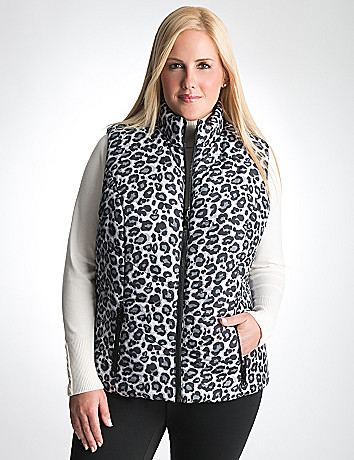Full Figure Leopard & Solid Reversible Puffer Vest