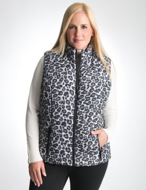 Leopard & solid reversible puffer vest
