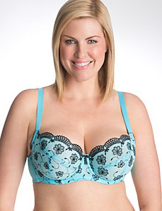 Floral embroidered French full coverage bra