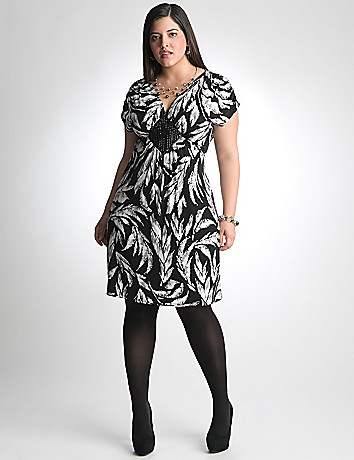 Plus Size Embellished Print Dress by Lane Bryant