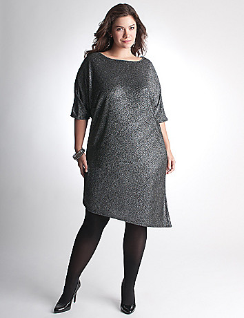 Plus Size Asymmetric Sparkle Dress by Lane Bryant