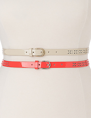 Plus Size Perforated skinny belt duo by Lane Bryant