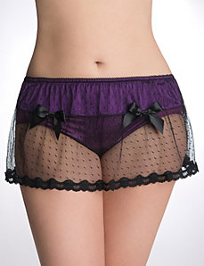 Plus size dot lace garter skirt