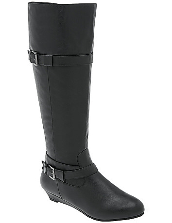 Wide calf wedge boot by Lane Bryant