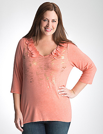 Chiffon trim foiled tee by Lane Bryant