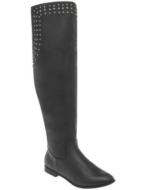 Over the knee studded boot