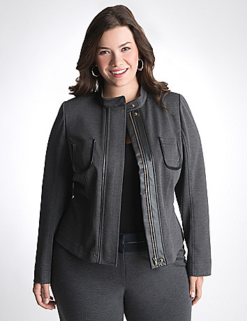 Leather trim ponte suit jacket by Lane Bryant