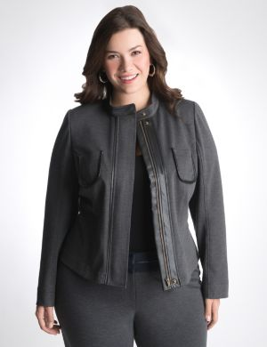 Leather trim ponte jacket