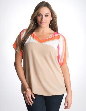 Striped shoulder blouse