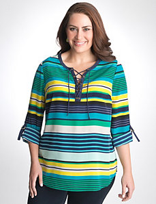 Plus size Striped Lace-up Tunic by Lane Bryant
