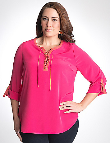 Plus size Lace-up Tunic by Lane Bryant