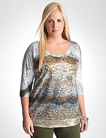 Full Figure Foil Print Tee by Lane Bryant