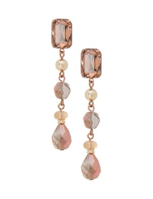 Lane Collection linear button drop earrings